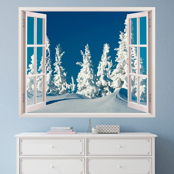 Wall Stickers: Snowy pine forest