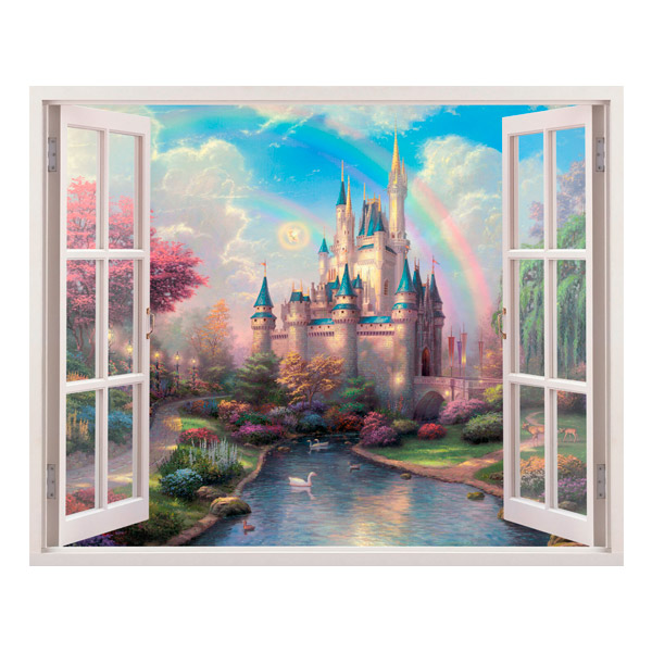 disney castle and tinker bell. Black Bedroom Furniture Sets. Home Design Ideas