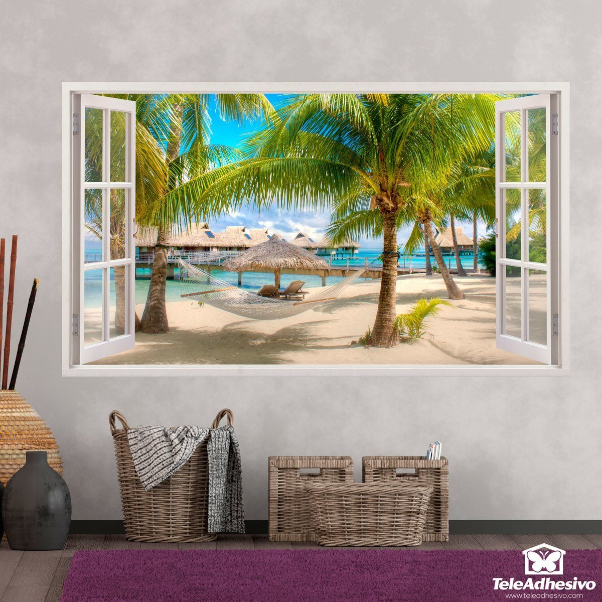 Panorama hammock on the beach - Posters y vinilos ...