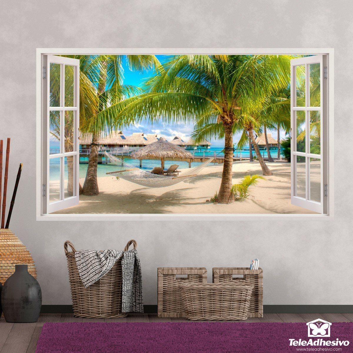 Panorama hammock on the beach - Laminas y posters decorativos ...