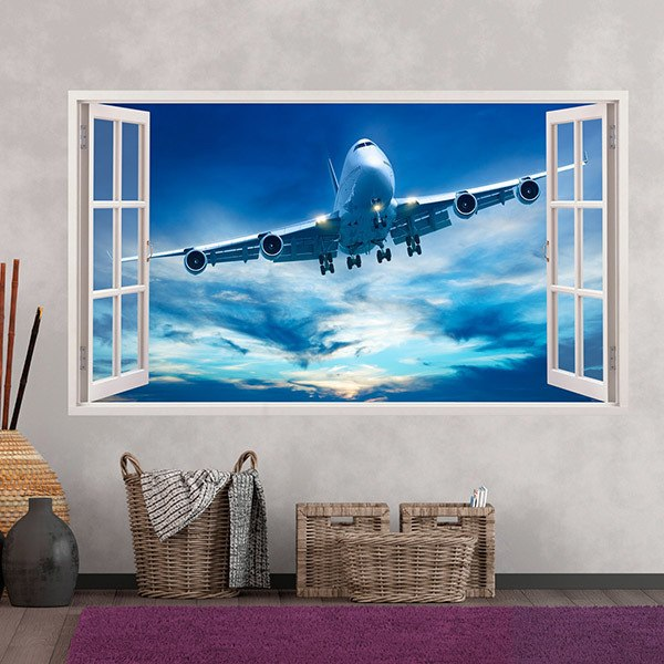 Wall Stickers: Commercial airplane flying