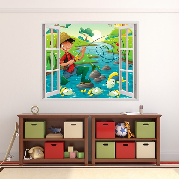 Stickers for Kids: Window Fisherman