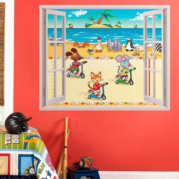 Stickers for Kids: Window race on the beach