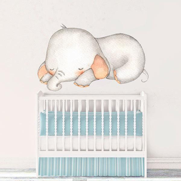 Stickers for Kids: Sleeping Elephant watercolor