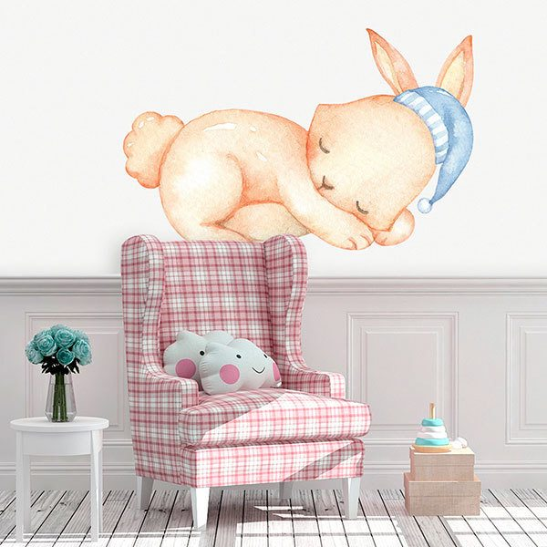 Stickers for Kids: Rabbit lying in watercolour