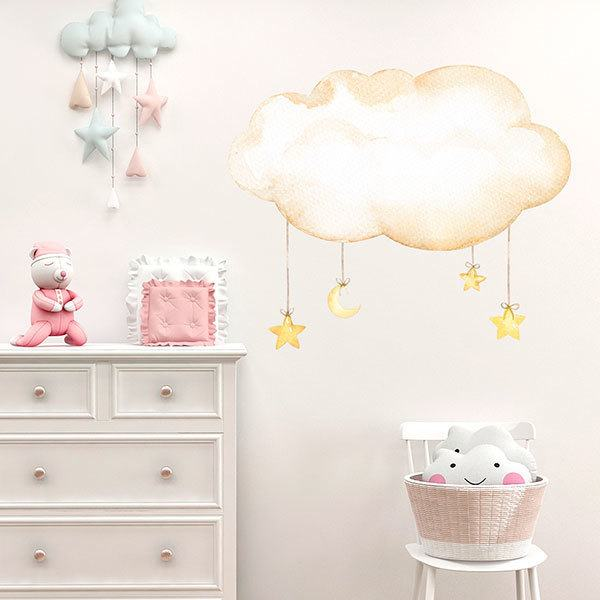 Stickers for Kids: Cloud with moon and watercolor stars