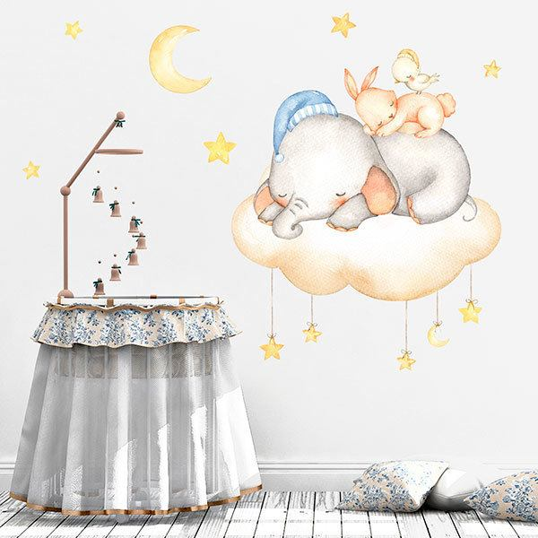 Stickers for Kids: Kit animals sleeping in the cloud