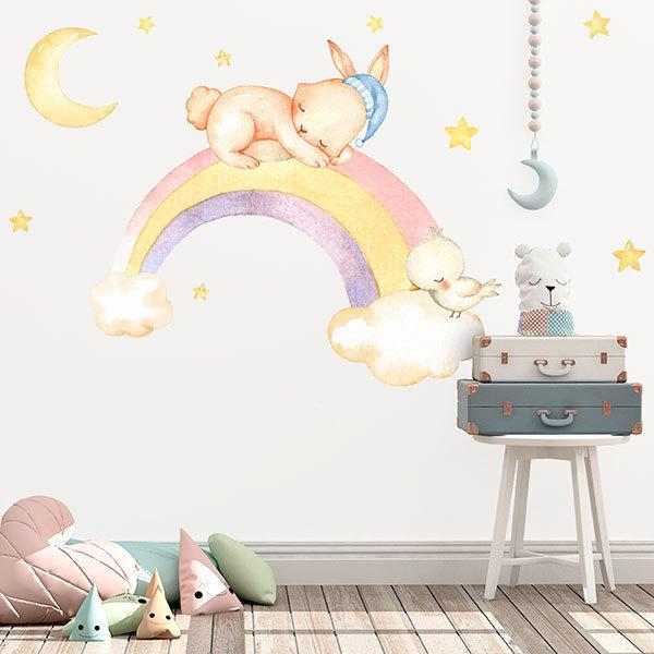 Stickers for Kids: Kit Rabbit sleeping in rainbows