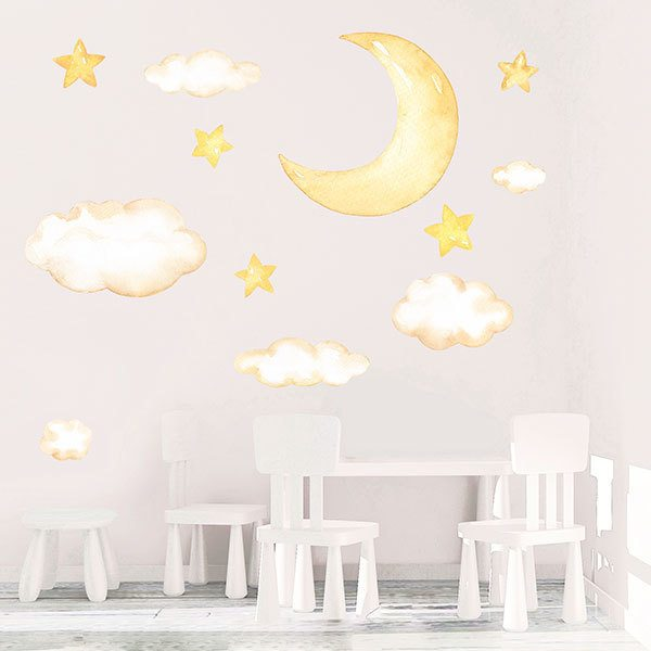 Stickers for Kids: Kit moon, clouds and watercolour stars