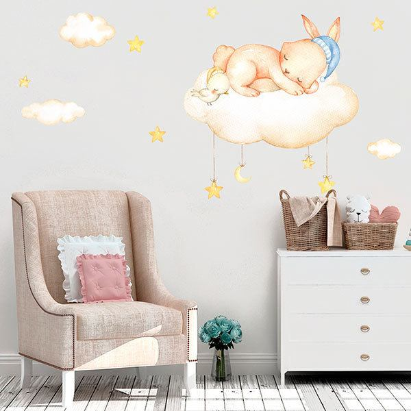 Stickers for Kids: Kit Rabbit sleeping on clouds