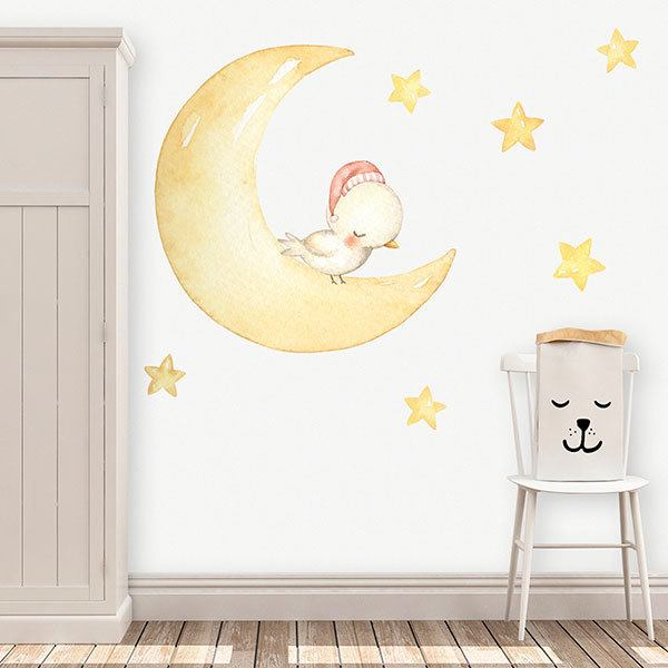 Stickers for Kids: Bird sleeping on the moon