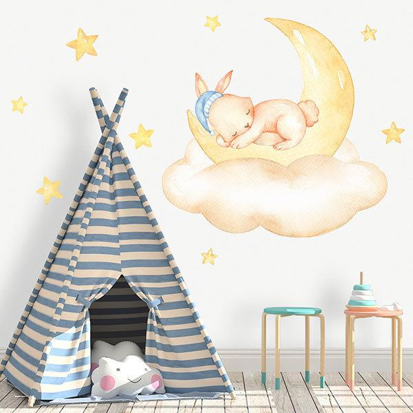 Stickers for Kids: Rabbit sleeps on moon