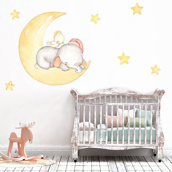Stickers for Kids: Elephant and chick sleeping on the moon