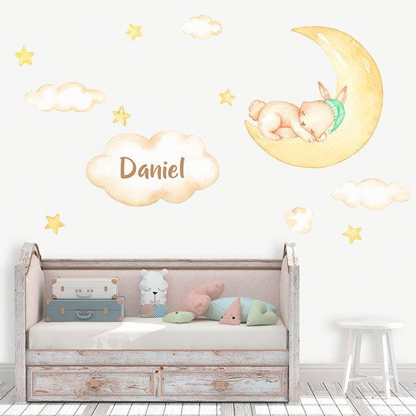 Stickers for Kids: Rabbit moon personalized