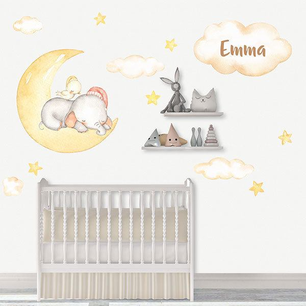 Stickers for Kids: Elephant in personalized moon