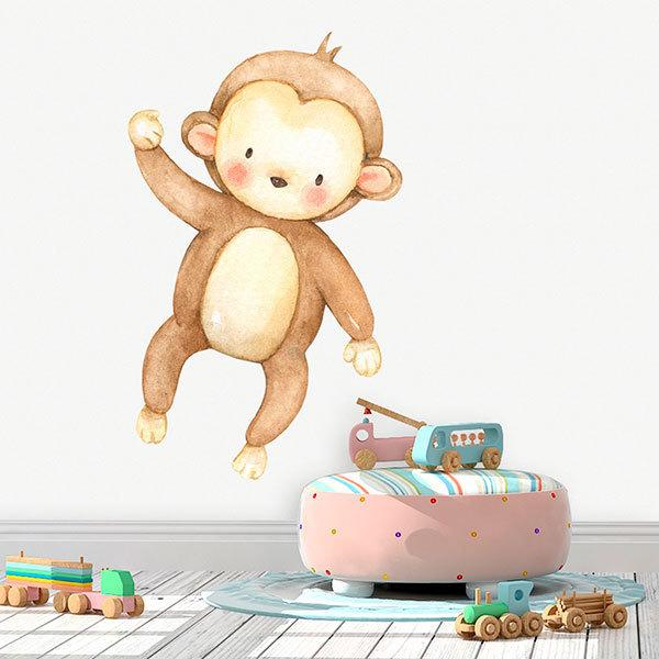 Stickers for Kids: Watercolor Monkey