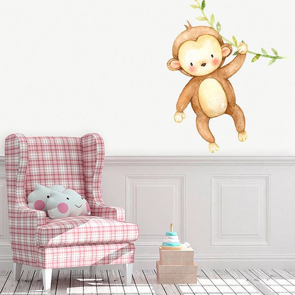 Stickers for Kids: Monkey with branch in watercolor