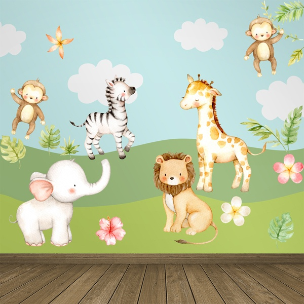 Stickers for Kids: Watercolor jungle animals kit