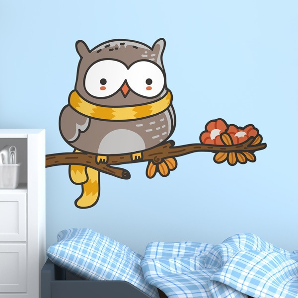 Stickers for Kids: Owl with a scarf on the branch