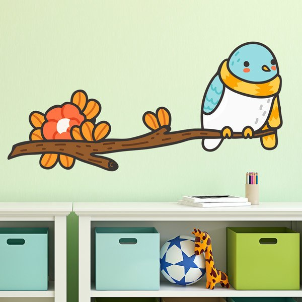 Stickers for Kids: Bird with a scarf on the branch 1