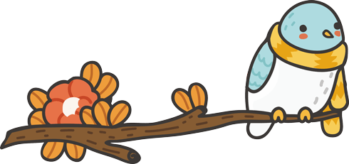 Stickers for Kids: Bird with a scarf on the branch 0