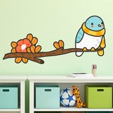 Stickers for Kids: Bird with a scarf on the branch 3