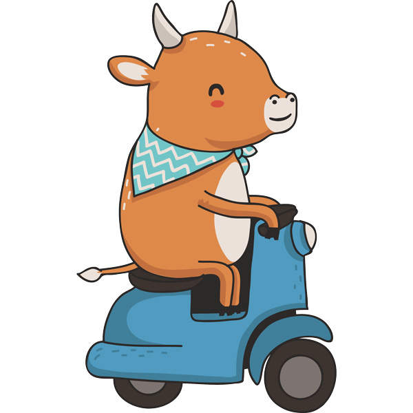 Stickers for Kids: Cow and motorcycle Vespa