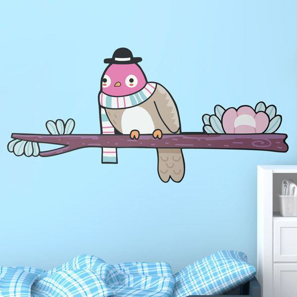 Stickers for Kids: Bird 2 on branch in winter