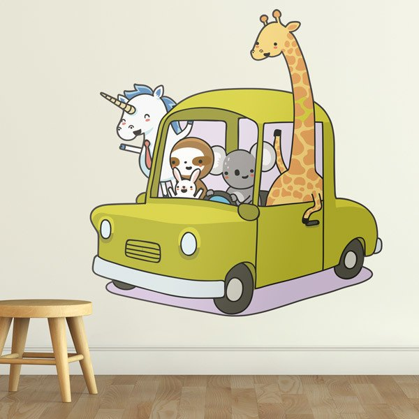 Stickers for Kids: Car loaded with animals 1