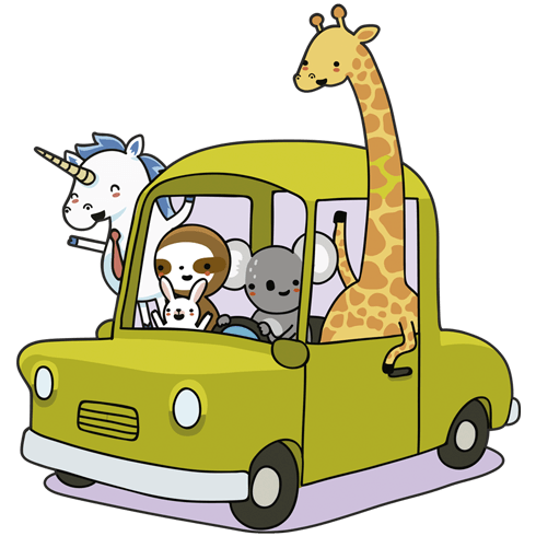 Stickers for Kids: Car loaded with animals 0