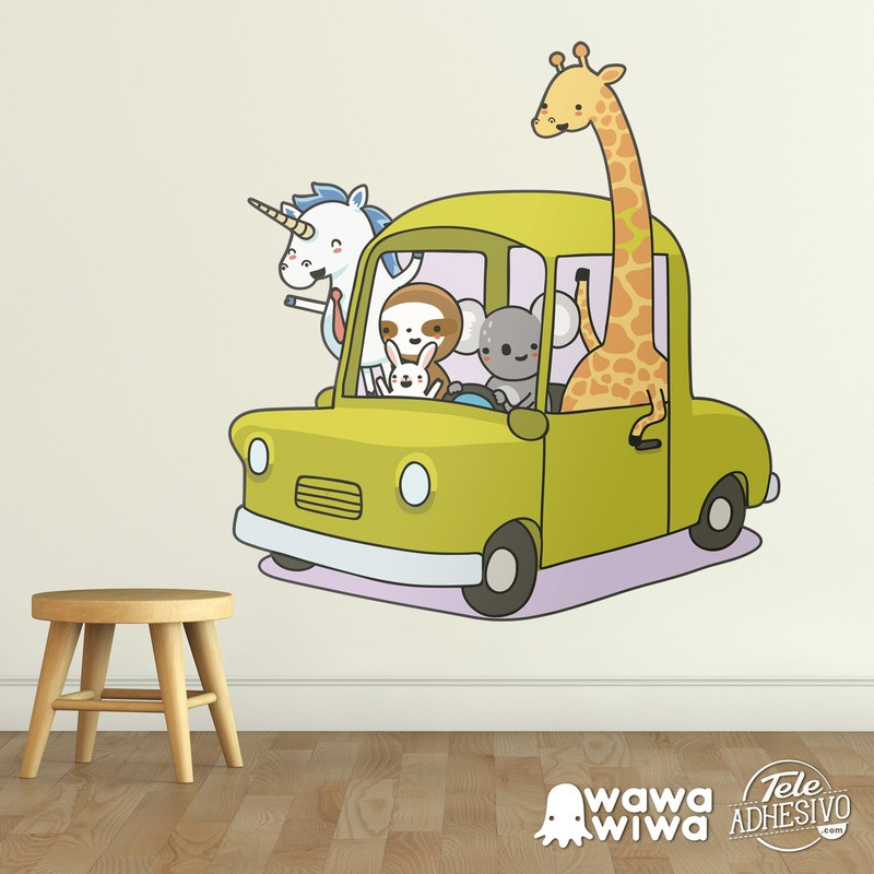 Stickers for Kids: Car loaded with animals