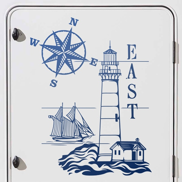 Car & Motorbike Stickers: Maritime Lighthouse and nautical Rose 0