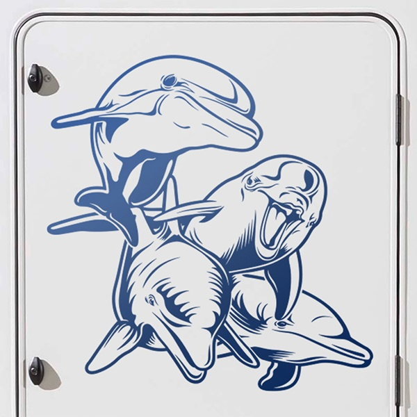 Car and Motorbike Stickers: Herd of Dolphins