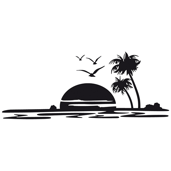 Car & Motorbike Stickers: Sunset at the beach