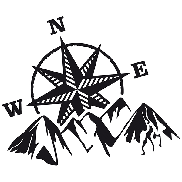 Car & Motorbike Stickers: Compass rose at the mountain