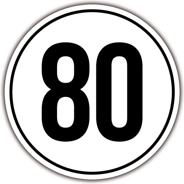 Car & Motorbike Stickers: Speed 80km/h 0
