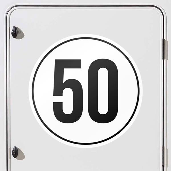 Car and Motorbike Stickers: Speed 50km/h