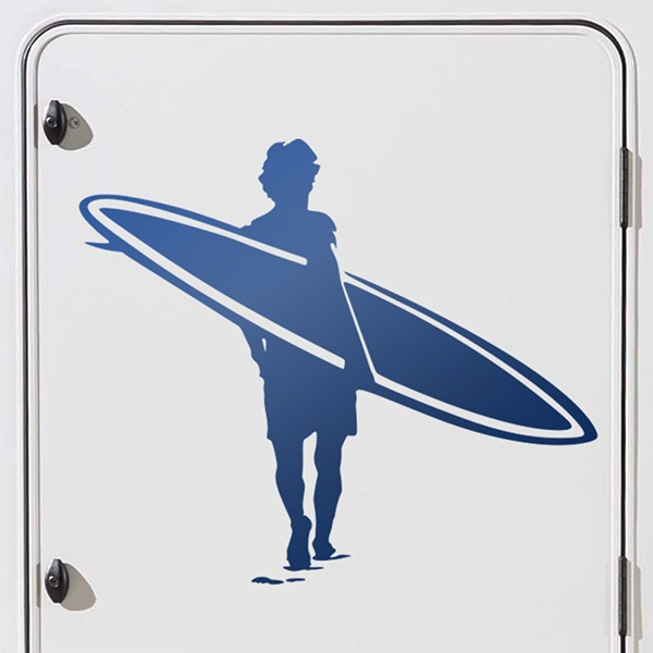 Car and Motorbike Stickers: Surfer on the beach