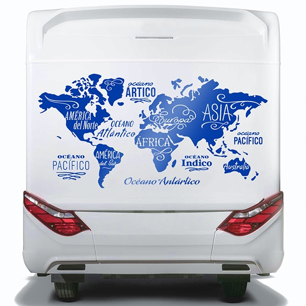 Car & Motorbike Stickers: World Map in spanish, Oceans and Continents