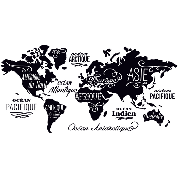 Car & Motorbike Stickers: World Map in french, Oceans and Continents