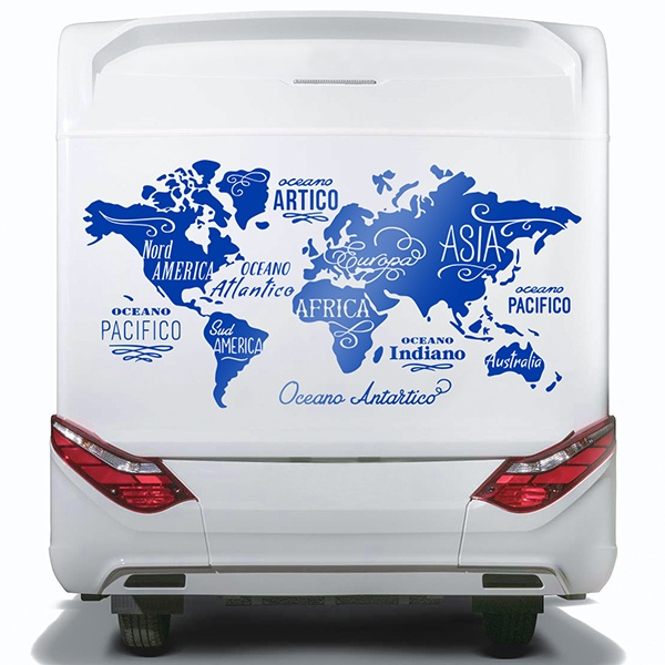 Car & Motorbike Stickers: World Map in italian, Oceans and Continents