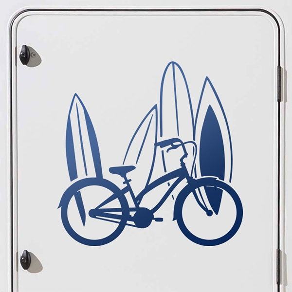 Car & Motorbike Stickers: Classic bicycle and surfboards