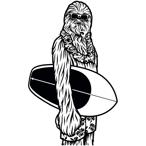 Car & Motorbike Stickers: Chewbacca surfer