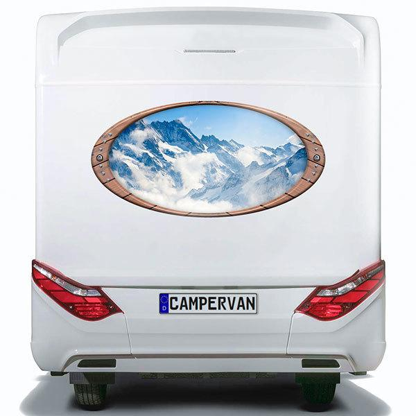 Car & Motorbike Stickers: Elliptical frame snowy mountains