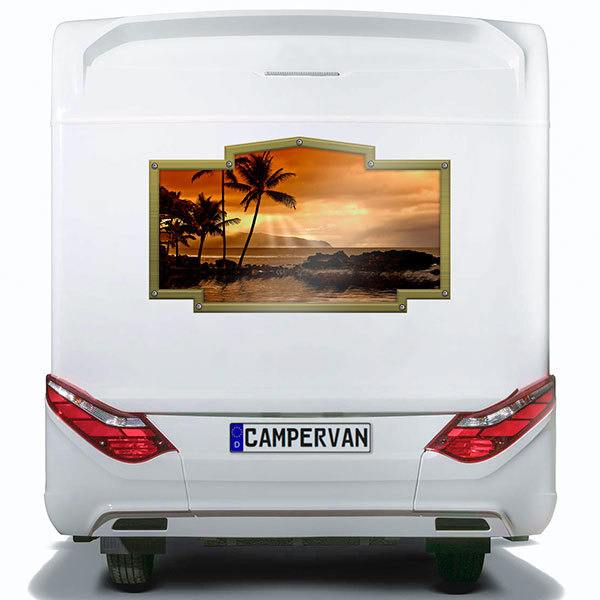Car & Motorbike Stickers: Vintage frame sunset among palm trees