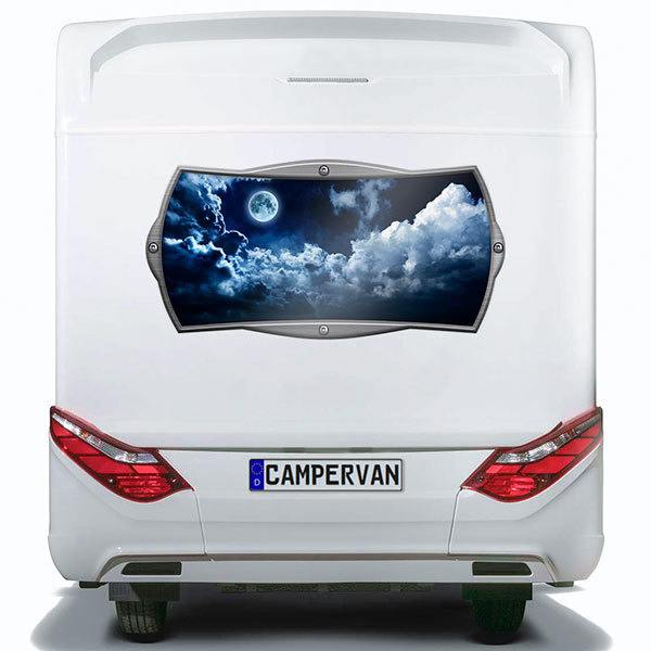 Car & Motorbike Stickers: Rectangular frame moon between darkness