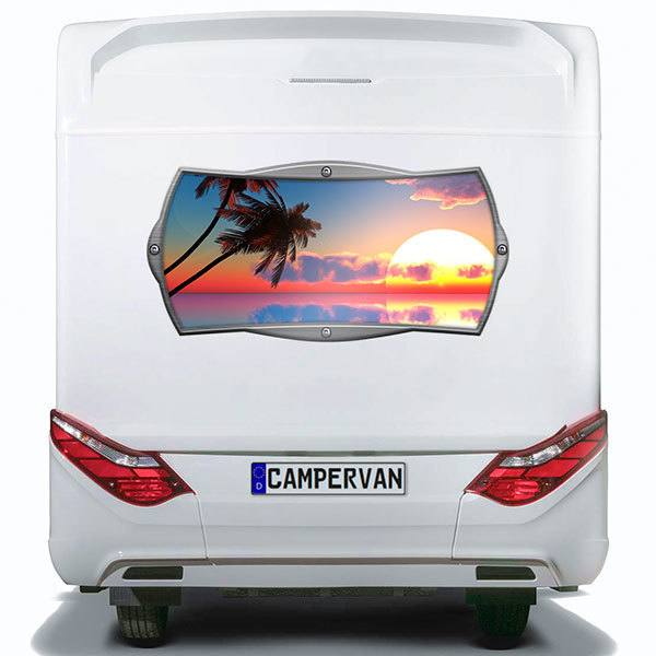 Car & Motorbike Stickers: Rectangular frame Caribbean sunrise