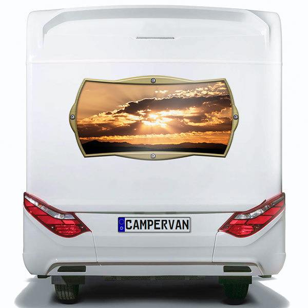 Car & Motorbike Stickers: Rectangular frame sunset among clouds