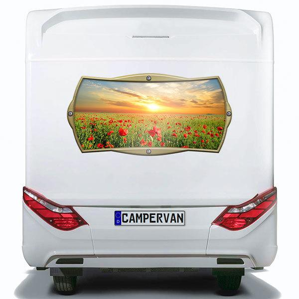 Car & Motorbike Stickers: Rectangular frame poppy field