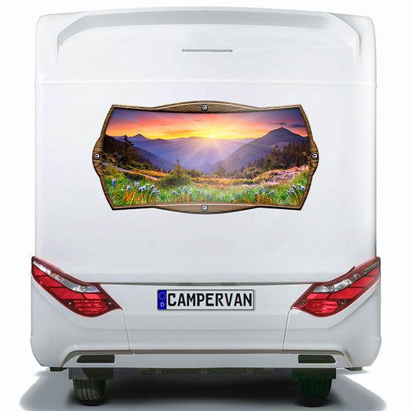 Car & Motorbike Stickers: Rectangular frame sunrise on the mountain
